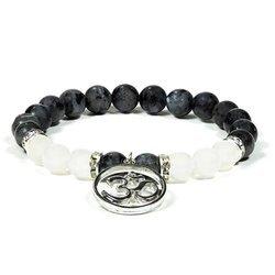 Armband aus Labradorit und Weißer Achat mit Ohm