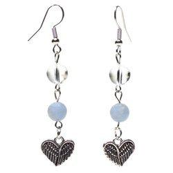 Ohrringe aus Angelit und Bergkristall mit Herz