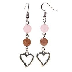 Ohrringe aus Rosenquarz und Erdbeerquarz mit Herz
