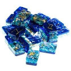Set mit 24 Orgonit Runen (Futhark) - Blau