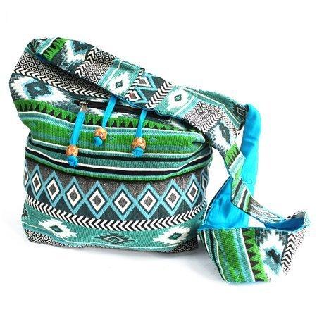 Groß Jacquard-Taschen - blaugrüne Umhängetasche