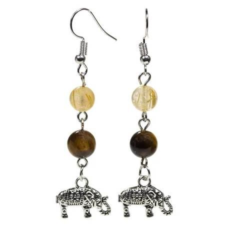 Ohrringe aus Tigerauge und Rutilquarz mit Elefant