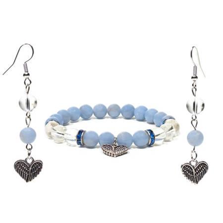 Schmuckset Armband und Ohrringe aus Angelit Bergkristall mit Herz