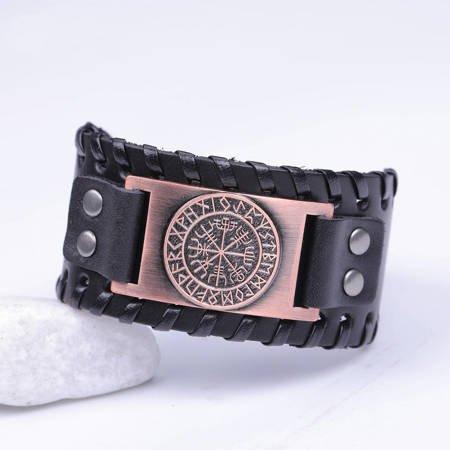 Schwarzes Lederarmband - Antike Kupfer
